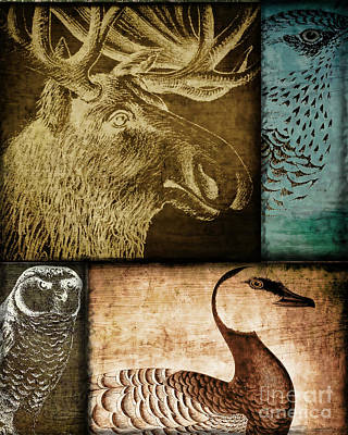 Wild Game Primitive Patchwork Art Print by Mindy Sommers
