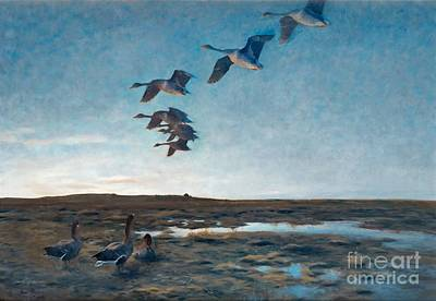 Flying Geese Painting - Wild Geese At Dusk by MotionAge Designs