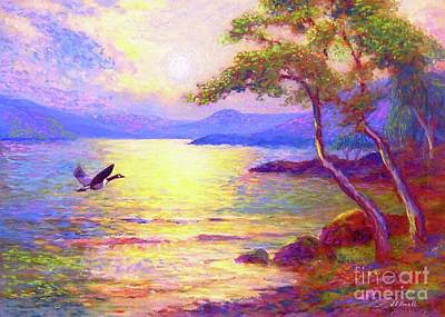 Impressionist Beach Painting -  Wild Goose, Moon Song by Jane Small