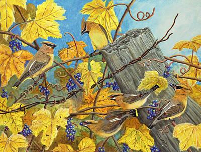 Cedar Waxwings Painting - Wild Grape Feast - Cedar Waxwings by Susan Zabel