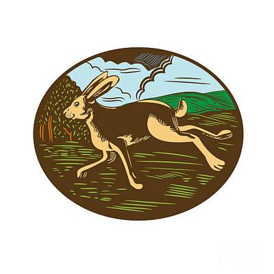 Wild Hare Rabbit Running Oval Woodcut Art Print by Aloysius Patrimonio