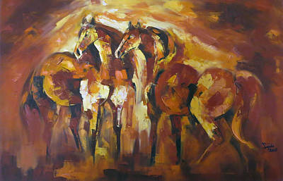 Impressionism Painting - Wild Horse Art Painting by Sajida Hussain