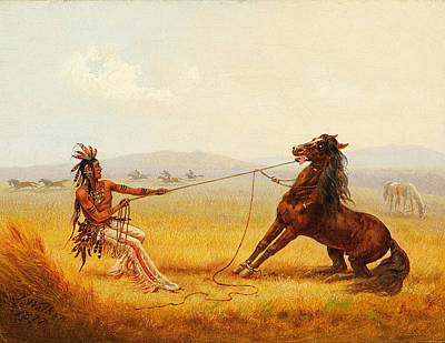 American Indian Painting - Wild Horse Catchers by Celestial Images