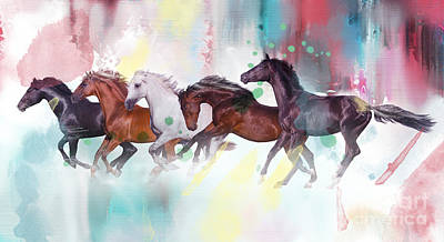 Mystical Landscape Digital Art - Wild Horse  by Mark Ashkenazi