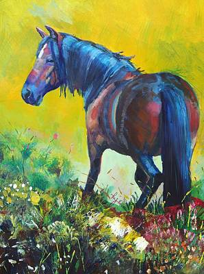 Painting - Wild Horse On Dartmoor - Roaming Free by Mike Jory