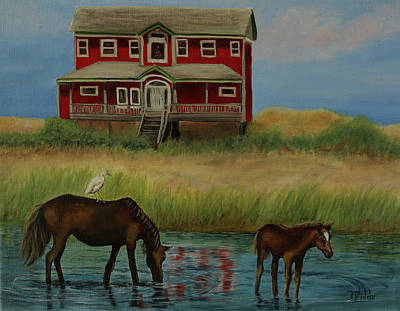 Painting - Wild Horse Red House by Jan Priddy