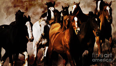 Landscap Painting - Wild Horses 01 by Gull G