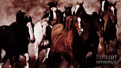 Horses Stampede Painting - Wild Horses 02 by Gull G