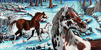 Wild Horse Painting - Wild Horses by Bob Crawford
