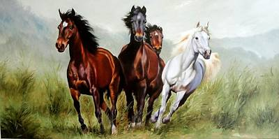 Contempory Art Galleries In Italy Painting - Wild Horses by Ettore Dematteis