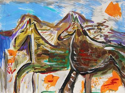 Wild Horses From The Hills Art Print by Mary Carol Williams