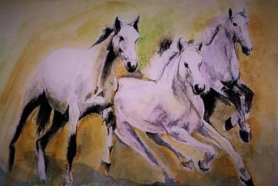 Painting - Wild Horses by Khalid Saeed