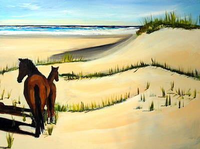 Painting - Wild Horses Outer Banks Beach North Carolina by Katy Hawk