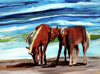 Painting - Wild Horses Outer Banks by Katy Hawk
