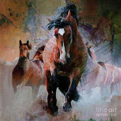 Painting - Wild Horses Uj67 by Gull G