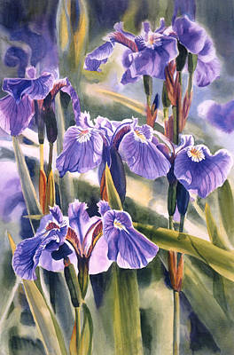 Purple Flowers Painting - Wild Irises #1 by Sharon Freeman