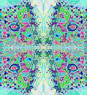 Drawing - Wild Island Creation 1 Fractal B by Julia Woodman