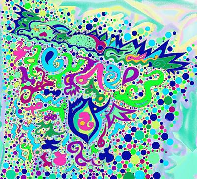Drawing - Wild Island Creation 1 by Julia Woodman