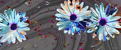 Painting - Wild Marbled Daisy Art - Sharon Cummings by Sharon Cummings