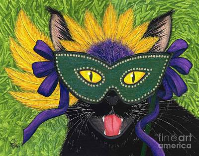 Art Print featuring the painting Wild Mardi Gras Cat by Carrie Hawks