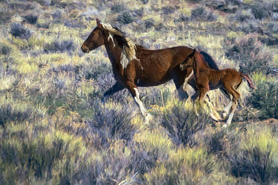 Photograph - Wild Mare And Foal Running Painterly by Belinda Greb