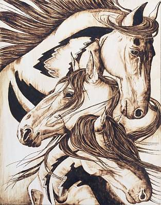 Pyrography - Wild Mustangs by Kristen Holmberg