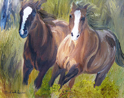 Wild Mustangs Art Print by Michael Lee