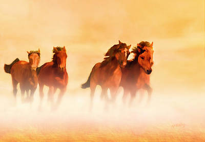 Digital Art - Wild Mustangs On The Run by Valerie Anne Kelly