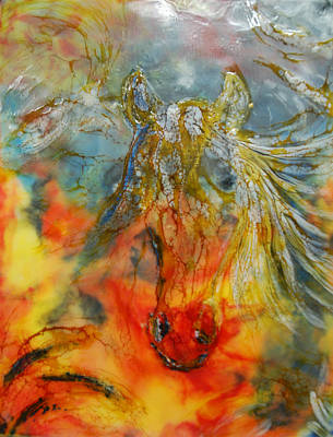 Encaustic Horse Painting - Wild One - Gone by Lorraine G Collins