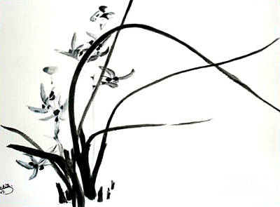 Art Print featuring the painting Wild Orchid by Sibby S