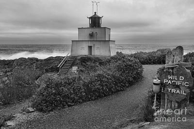 Wild Pacific Trail Black And White Lighthouse Print by Adam Jewell