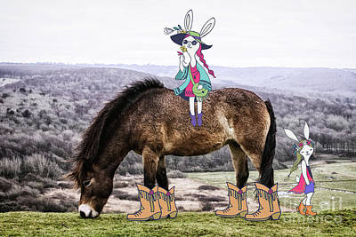 Photograph - Wild Pony Easter Bunny Girls by Toula Mavridou-Messer