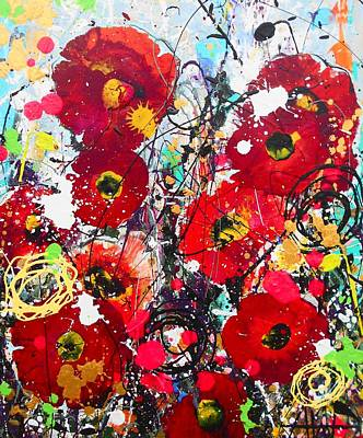 Painting - Wild Poppies Detail by Angie Wright