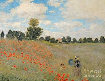 D Painting - Wild Poppies Near Argenteuil by Claude Monet
