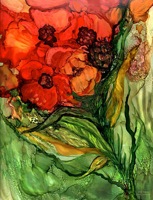 Mixed Media - Wild Poppies - Organica by Carol Cavalaris