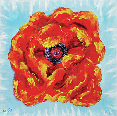 Abstract Purse Painting - Wild Poppy by Mary Wheeler