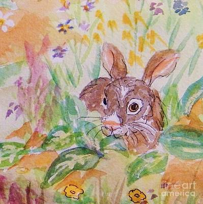 Painting - Wild Rabbit In The Garden - Square by Ellen Levinson
