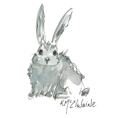 Painting - Wild Rabbit Watercolor And Ink Painting By Kmcelwaine by Kathleen McElwaine