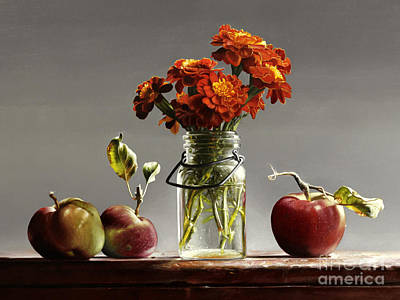 Wild Red Apples With Marigolds Art Print