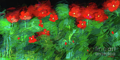 Mixed Media - Wild Red Poppies On Canvas by Janice Rae Pariza