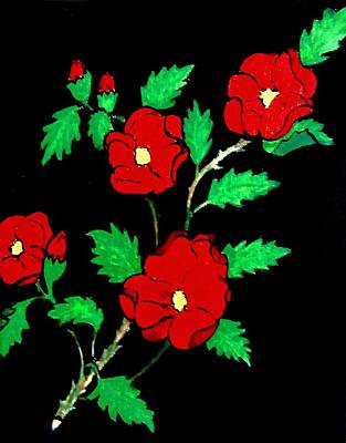 Painting - Wild Red Roses by Stephanie Moore