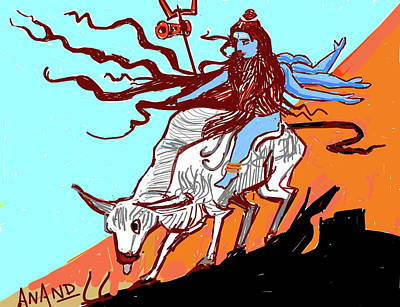 Digital Art - Wild Ride Of Shiva by Anand Swaroop Manchiraju