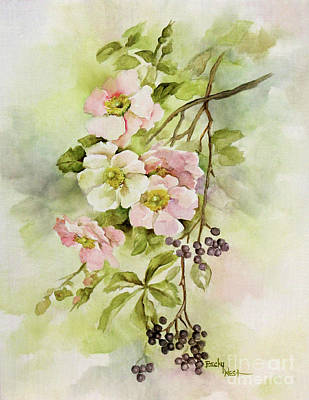 Painting - Wild Roses And Berries by Becky West
