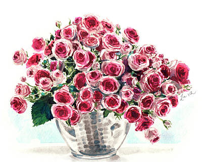 Wild Roses In Mercury Glass Art Print