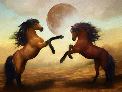 Digital Art - Wild Stallions - Painting by Ericamaxine Price