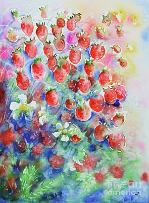 Heart Images Painting - Wild Strawberries by Zaira Dzhaubaeva