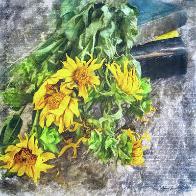 Photograph - Wild Sunflowers And Old Books by Anna Louise