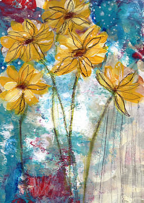 Florals Royalty-Free and Rights-Managed Images - Wild Sunflowers- Art by Linda Woods by Linda Woods