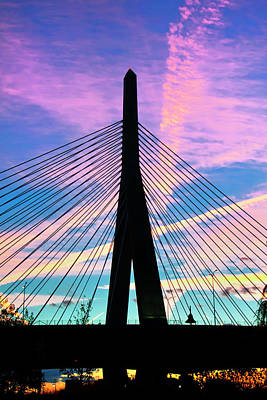 Wild Sunset Over The Zakim Bridge - Boston Art Print