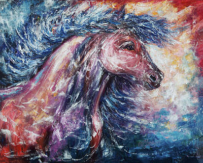 Western Pleasure Horse Painting - Wild The Storm - 2 by Lena  Owens OLena Art